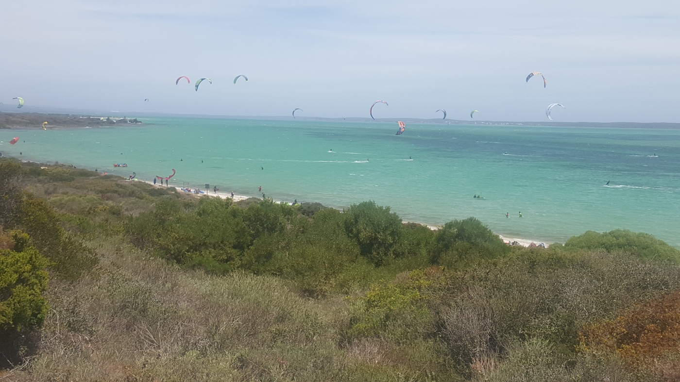Kitesurfing at Shark bay - Langebaan
