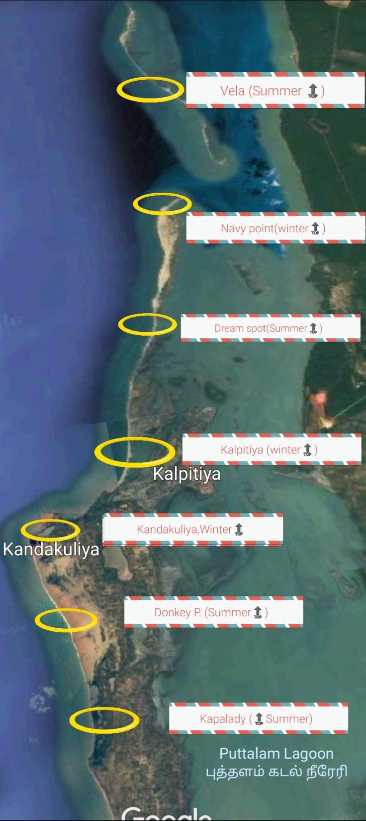 Kitesurfing spots around Kalpitiya and Kapalady